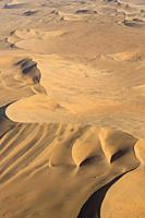 Sand dunes in the Namib Desert. Aerial view. Namib-Naukluft National Park, Namibia.