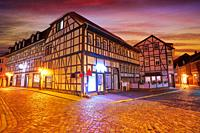 Nordhausen city facades at sunset in Thuringia Germany.