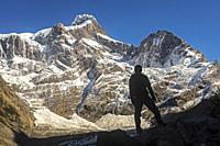 Hiker, Mirador Francés, Torres del Paine national park, Patagonia, Chile.