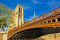 Pont au Double is a bridge, Our Lady of Paris, Notre Dame Cathedral, Île de la Cité, River Seine, Paris, France, Europe.