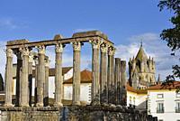 Roman Temple of Evora, Alentejo region, Portugal, southwertern Europe.