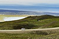 Car on the Ring Road, Eastern Iceland.