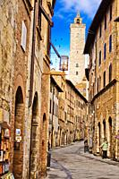 Via Saint Giovanni street, San Gimignano, Town of Fine Towers, medieval hill town, medieval architecture, UNESCO World Heritage, Siena province, Tusca...