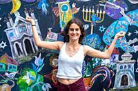 Girl in Szeroka street, Jewish Culture Festival in Krakow, Poland.