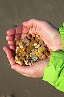 Agates in hand, Gleneden Beach State Park, Lincoln City, Oregon.
