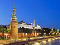 View of Moscow Kremlin illuminated at dusk. Moscow, Russia.