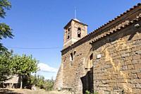 Santa Maria church in Sapeira village. Pyrenees, Pallars Jussà, Lleida, Spain.