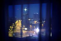Urban sight of Bucharest to the dawn from a window. Bucharest. Europe.