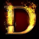 D, fire letter illustration.