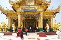 Temple with the Padamya Myetshin image of the Buddah, Shwedagon pagoda, Yangon, Myanmar, Asia.