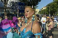Madrid, Spain, 7 th July 2018. Gay pride parade with participants in Paseo del Prado,7 th July 2018, Madrid.