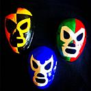 Lucha Libre masks decorate Taller Tlamaxcalli cardboard workshop in Colonia Roma, Mexico City, Mexico