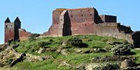 Panoramic view of Hammerhus, one of the largest contiguous castle ruins complexes in Northern Europe.