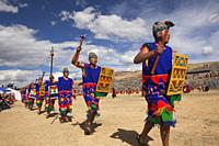 Scene from the Inti Raymi Festival at Saqsaywaman with the performers in the foreground, Cusco, Peru, South America.