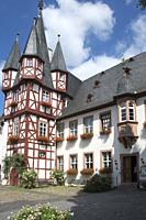 Traditional half-timbered building in Rüdesheim, Upper Middle Rhine Valley, Germany.