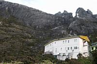 Laban Rata Resthouse, built by Malaysian Army sappers in 1983-85, below the summit of Mt Kinabalu, Sabah, Malaysian Borneo. All hikers spend the night...