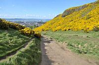 Walking on Holyrood park in Edinburg, Scotland