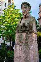 Statue of Pierre de Ronsard in Auguste-Mariette-Pacha square in a sunny day. Latin Quarter, Paris, France.