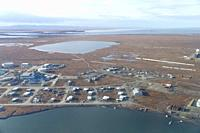 United States, Alaska, Arctic National Wildlife Refuge, North Slope Borough, aerial view of Bartel island and the village of Kaktovik.
