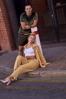 Australia, Adelaide, Fashion Bloggers Sarah Jeavons and Reno Marrasso on street, couple, thoughtful, cool attitude, relationship, sensitive, feelings,...