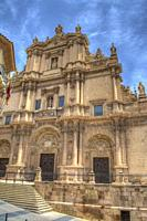 HDR image of the colegiata de San Patricio church in the plaza de espana in Lorca Murcia Spain.