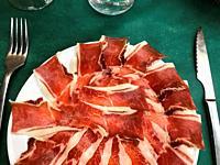 Iberian ham serving. Spain.