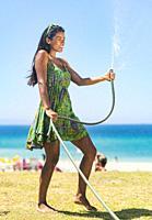 Exotic woman. Tarifa, Costa de la Luz, Cadiz, Andalusia, Spain.