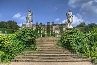 HDR image of the Hall and steps to the middle lawn at Renishaw Hall and Gardens, Renishaw, Derbyshire, UK.