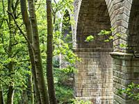 Railway viaduct on the disused part of the old Leeds and Thirsk Railway in the Crimple Valley Harrogate North Yorkshire England.