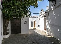 Whitewashed Andalusian typical house of white lime in Vejer de la Frontera, Cadiz, Spain.