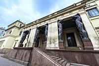 Facade of the Hermitage museum in Saint Petersburg, Russia. Hermitage museum.