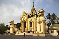 West gate, Shwedagon pagoda, Yangon, Myanmar, Asia.