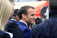 Helsinki, Finland. August 30, 2018. French President Emmanuel Macron (C) and Finnish President Sauli Niinistö (not in picture) take a walk on the Mark...