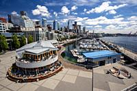 View of Seattle's Waterfront from Bell Street Pier and Conference Center at Pier 66 - Seattle, Washington, USA.