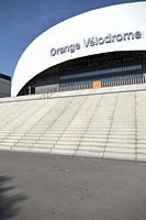 Impressive curved and geometric contemporary frontage of the Orange Velodrome Marseille Football Stadium, Marseille, Provence, France.