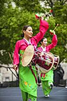 Traditional folk dancers with drums at Korean Festival, Getty Center, Los Angeles, CA.