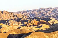 Eroded hills of sedimentary conglomerate and sandstone, . Unesco World Heritage, Zhangye, China.