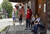 young local residents of the village of Lanckorona, renowned for its well preserved 19th century wooden houses, Malopolska Province (Lesser Poland), P...