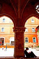 courtyard and cloister, Civic Center, Convent de Sant Agusti Vell, Barcelona, Catalonia, Spain