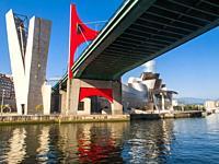 Guggenheim Museum and Puente de La Salve. Bilbao, Biscay, Basque Country, Spain.