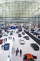 USA, New England, Massachusetts, Boston, Boston Convention Center, Boston Auto Show, elevated view.