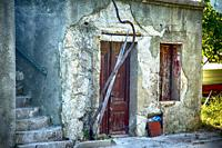 Old building needing repair on the edge of the small viiage of Punat on the Croatian island of Krk.