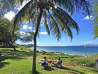 A couple relaxing on grass at the water's edge underneath a coconut palm tree, overlooking the blue Pacific Ocean and a small volcano.