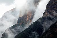 Landscape with low clouds in the Ordesa valley. Ordesa y Monte Perdido national park. Huesca.