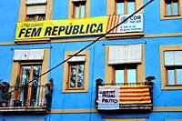Banners for the independence of Catalonia and for catalan politics liberty.
