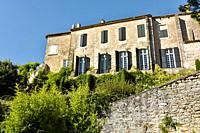 castle in the village Ménerbes situated on a hill, Provence, France, department Vaucluse, Luberon mountains, region Provence-Alpes-Côte d'Azur.