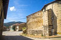 Street and church. El Cardoso de la Sierra, Guadalajara province, Castilla La Mancha, Spain.