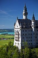 Neuschwanstein Castle view from the Marianbrucke, Hohenschwangau, Schwangau, Bayern, Germany.