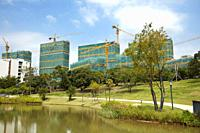Construction of new buildings on the campus of Southern University of Science and Technology (SUSTech). Shenzhen, Guangdong Province, China.