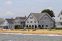 Beachfront homes in Madison, Connecticut, United States.